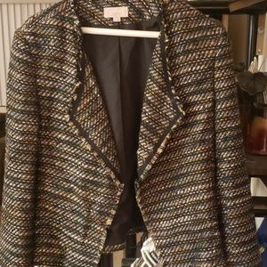 Loft fringe green multicolor tweed blazer size 12